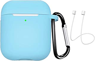 JKoYu Portable Earbuds & Headphones Earphones Accessories Silicone Mini Earphone Protective Case Storage Box with Lanyard for Air-Pods 1 2 - Light Blue