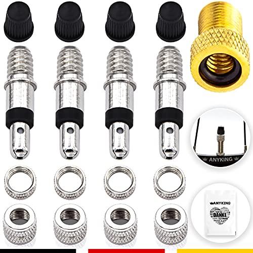 Dunlop Blitz-Ventil Fahrradventil-Adapter Ersatz Set: 17-Teile Fahrradventile mit Dichtung, Ventil-Mutter, Ventilkappen, Luft-pumpe Kompressor Aufsatz DV AV Schrader Auto-ventil Konverter Zubehör