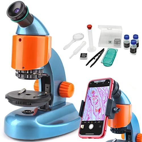 Gosky Microscope for Kids -Portable Student Biological Compound Microscope- Continuous Zoom Magnificationwith Smartphone MountOptical Glass Lenses Includes Slides, Science Accessories