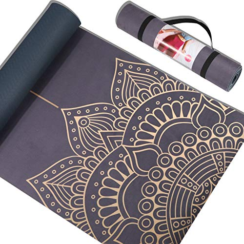 Suede Yoga Mat Printed Gym Mat, PIDOYOGA Thickness 7mm Non Slip Fitness Mat 72'X24' inch...