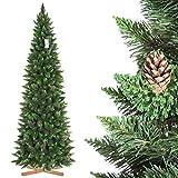 FairyTrees Árbol de Navidad Artificial Slim, Pino Natural Verde, Material PVC, Las piñas verdaderas, el Soporte de Madera, 250cm, FT08-250