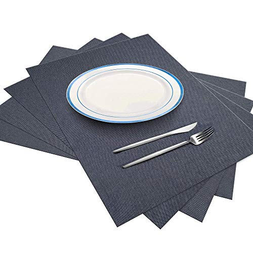 ArtanHome Grey Placemats Set of 4 - Washable Heat-Resistant Thick Dark Grey Place mats for Dining Table, Set of 4 Kitchen Table Mats 14 x 18 Inch, Cotton Polyester