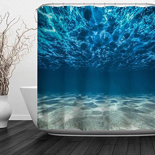 Baccessor Sea Shower Curtains,Clear Underwater Blue Ocean Waves Hooks Included, Waterproof Fabric Shower Curtains,72' W x 72' H (180CM x 180CM) - Blue Sea Water