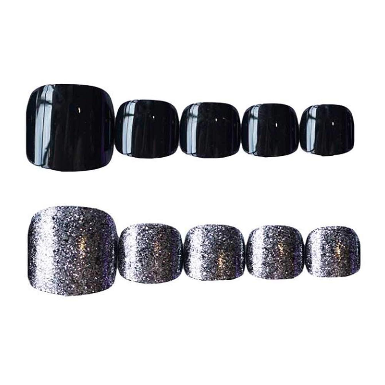 適合する不透明な累計シルバー/ブラックパーティー偽爪人工偽爪ヒント装飾ネイルアート