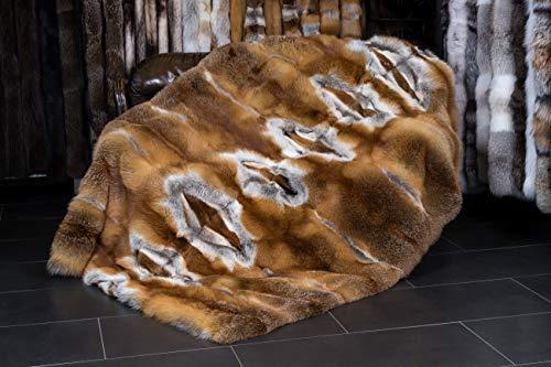 Europäische Rotfuchs Felldecke Echtfell Decke Tagesdecke (200 x 140 cm)