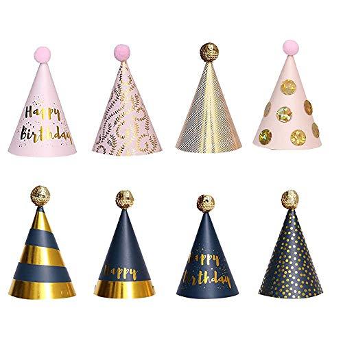 Partyhüte Geburtstag, 8 Stück Partyhüte Party Kegel Hüte, Pailletten Point Partyhüte Geburtstag Dekoration Set, für Kinder Kinder Geburtstag Party Dekor Foto Prop, 11 x 18cm, 8 Stile
