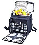 Blue Insulated Picnic Basket - Lunch Tote Cooler Backpack w/Flatware...