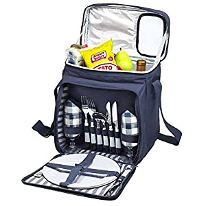 Blue Insulated Picnic Basket – Lunch Tote Cooler Backpack w/Flatware...