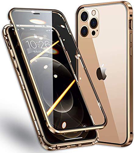 WMCOVER Funda iPhone 12 Pro MAX Magnética Funda,12 Pro MAX 6.7' Carcasa Protectora de Cuerpo Completo 360° Cristal Templado Cover con Protector de Pantalla,Antigolpes Rugged Metal Bumper Case,Dorado