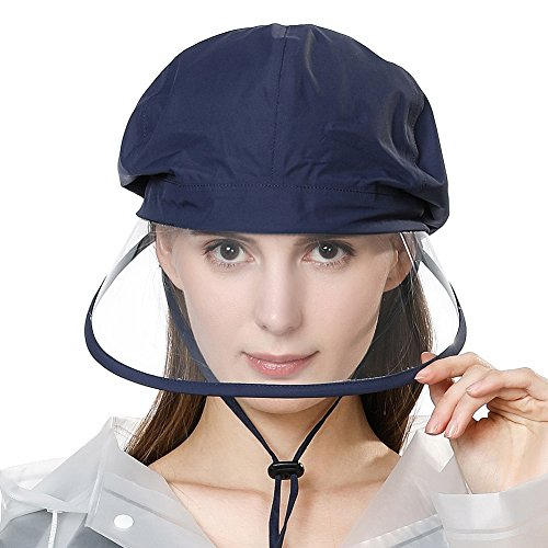 Comhats Sombreros de lluvia unisex 100% impermeables para caminar en bicicleta, visera con correa elástica para la barbilla [quitar la película protectora en ambos lados de la visera]