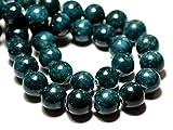 World Wide Gems Cuentas de piedras preciosas 10 piezas – Bolas de jade 12 mm azul verde pavo real código-HIGH-69663