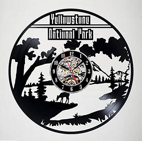 Knncch Décor D'Horloge Murale avec Disque Vinyle Au Parc National De Yellowstone - Un Décor De Chambre Passionnant