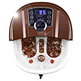 Giantex Foot Spa Bath Massager with Heat, Bubbles, 16 Pedicure Shiatsu Roller Massage Points, Frequency Conversion Power Saving, Adjustable Time & Temperature, LED Display, Drainage Pipe (Brown)