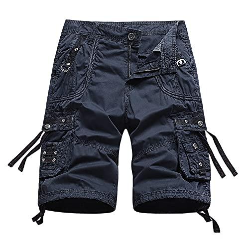 Katenyl Pantalones Cortos de Carga para Hombre, Costura de Personalidad, Moda, Multibolsillos, Pantalones Cortos de Entrenamiento Deportivo de Gran tamaño 32