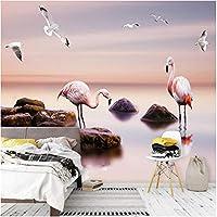 Iusasdz カスタム3D壁画壁紙モダンシーピンクバードフレスコ画リビングルームテレビソファベッドルームロマンチックな家の装飾3Dルーム-120X100Cm