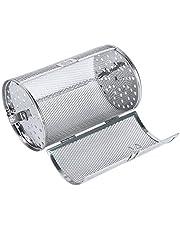 Fenteer Rotisserie Grill Drum Oven Mand Oven Roosteren Terug Roterende Zilver voor Pinda Gedroogde Noten Koffiebonen Bbq - 140x230mm