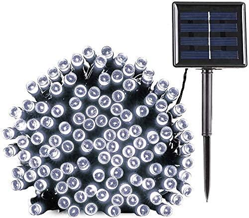 Cadena de luces solares, 22 m, 200 luces LED de Navidad, funciona con energía solar, 8 modos con función de memoria, luces intermitentes impermeables para jardín, patio, valla, árboles, plantas
