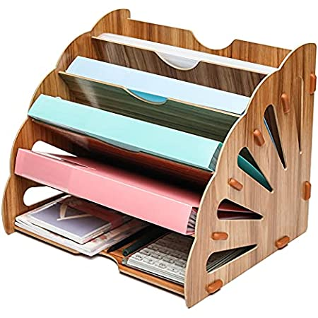Exerz Wooden Filing Trays, Large Wood Office Desk Stationery Expanding File Organiser Rack Tray Holder Divider for A4 Paper, Magazine, Paperwork and Document