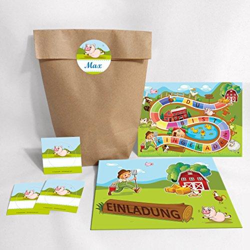8-er Set Einladungskarten, Umschläge, Tüten, Aufkleber zum Kindergeburtstag Bauernhof / Schatzsuche für Mädchen und Jungen (8 Karten + 8 Umschläge + 8 Party-Tüten (Kreuzbodenbeutel) + 8 Aufkleber)