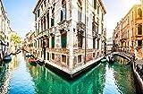 Mural 3D Efecto Cartel Gigante Canal De La Ciudad De Venecia Imagen Biblioteca Fotográfica Sala De Estar Restaurante Hotel Centro Comercial Decoración Papel Tapiz-350Cmx256Cm(Lxa)