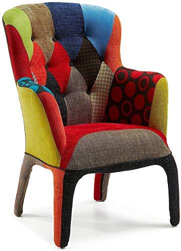 Fashion Commerce Patchwork Poltrona, Lino, Multicolore, 74x78x102 cm