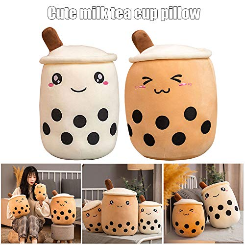 Watkings Bubble Tea Plüsch Toy Cartoon Bubble Tea Cup geformtes Kissen Tea Cup Kissen Kissen Gefüllte weiche Geschenke