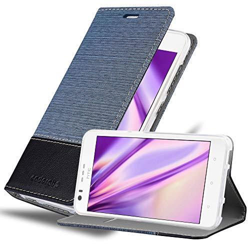 Cadorabo Hülle für HTC Desire 10 Lifestyle/Desire 825 in DUNKEL BLAU SCHWARZ - Handyhülle mit Magnetverschluss, Standfunktion & Kartenfach - Hülle Cover Schutzhülle Etui Tasche Book Klapp Style