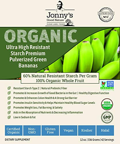 Organic Prebiotic Resistant Starch Superfood   ULTRA HIGH Resistant Starch Premium Pulverized Green Bananas   On Average [10x's] More Prebiotic Fiber Than Any Other Green Banana Flour On The Market