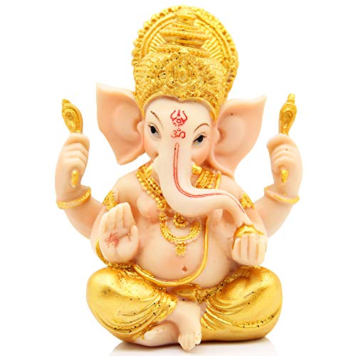 H&W 6''H Blessing A Colored Statue of Lord Ganesha Ganpati Elephant Hindu God, Elephant God Statue, Handmade Sculpture Buddha Figurine Decoration for Home Decoration Crafts Gifts