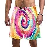 Haminaya Bañador para Hombre Tie Dye Remolino Colorido Trajes de Baño Secado rápido Bañadores de natación Impresión Swim Trunks Short de Playa para Piscina Surf Playa XXL