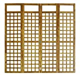 Biombo Decorativo, Biombo Separador de Ambientes de Madera Plegable de 4 Paneles, 160 x 170 cm