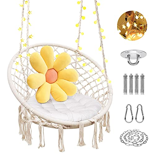 Hammock Chair With Lights,Egg Chair Max 551 Lbs,Hanging Chairs For Bedrooms,Outdoor Swing Chair,Adjustable Height Macrame Chair,Hammock Swing Chair for Indoor Bedroom Patio or Garden,Tree Tent