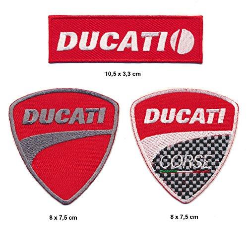 Ducati Aufnäher Aufbügler Patch 3 Stück Motorrad Italia TURBOVERSAND