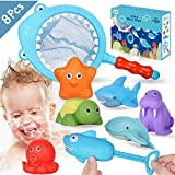Lehoo Castle Badespielzeug Baby ab 1 jahr, Badewanne Spielzeug Kinder, Badespielzeug mit Fischernetz