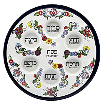 Ceramic Passover Seder Plate With Turquoise Floral Design - 12  Inch Standard
