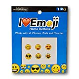 Emoji Home Button Cell Phone Sticker Charm Three Pack for iPhone, Ipad and Itouch ~ 18 Buttons