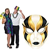 4 ft. 11 in. Black and Gold Venetian Masquerade Mask Mardi Gras Standee Standup Photo Booth Prop Background Backdrop Party Decoration Decor Scene Setter Cardboard Cutout