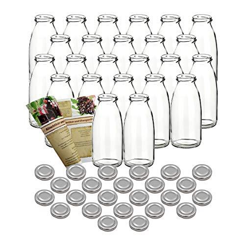 gouveo 60er Set Saftflaschen 250 ml incl. Schraubverschluss Silber und 28-seitige Flaschendiscount-Rezeptbroschüre Glasflaschen Likörflasche Schnapsflasche…