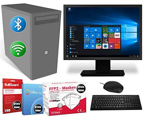 Home und Office PC Komplettsystem Intel-CPU@ 2,8 GHz 4 GB RAM 500 GB HDD DVD-Brenner 19 Zoll Monitor Maus & Tastatur BT & W-LAN & Masken Windows 10 Pro BullGuard SoftMaker Office (Generalüberholt)