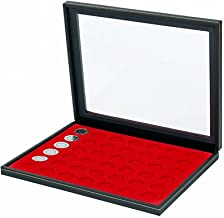 Lindner 2367-2107E Coin case NERA M PLUS with light red insert with 42 round compartments for coins with Ø 27,5 mm, e.g. for 5 EURO coins GERMANY