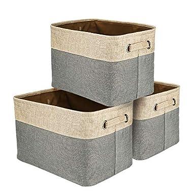 Walsilk Fabric Bin Set,Foldable Storage Cube Basket Bin,Collapsible Rectangle Organization Baskets,for Nursery,Closet,Toy,Bra Bin,Cosmetic Storage Box (3 Pack)