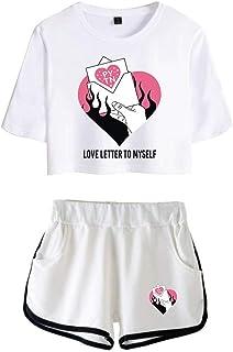 Shorts Ch/ándal de Deportiva para Yoga Fitness BienBien Conjunto de T-Shirt y Pantalones Cortos Billie Eilish Impresi/ón Cuello Redondo Camisetas de Manga Corta