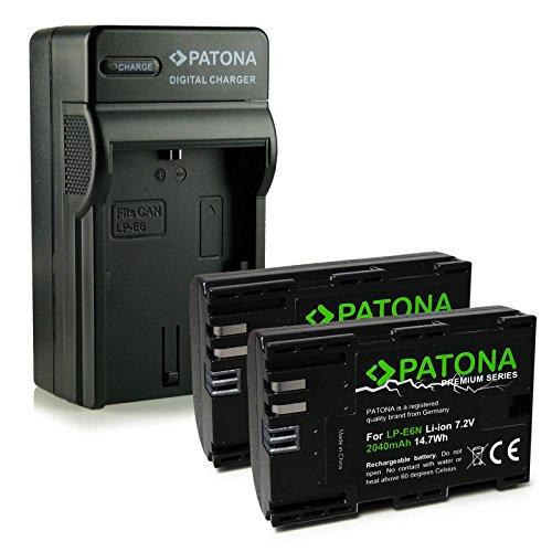 PATONA 4en1 Cargador + 2X Premium Batería LP-E6N Compatible con Canon EOS...