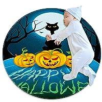 ラウンドソフトエリアラグ3Ftfor Kids Baby Girls Teen's Room Circle Nursery Rug for Bedroom Living Room Home Decor、Halloween Full Moon Night Black Cat Pumpkin Bat