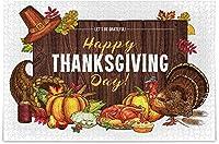 大人のためのジグソーパズル500ピース-感謝祭のパンプキンターキーとフルーツパイのピースが完璧に調和するウッドジグソーパズル