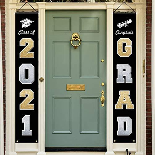 OEAGO Graduation Decoration Porch Sign Banners Class of 2021 Congrats Grad,Grad Decor Party Supplies Hanging Indoor and Outdoor Front Door & Classroom Porch Couplet - Black