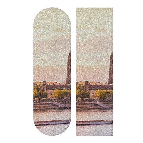 LIANGWE 33,1 x 9,1 Zoll Sport Outdoor Longboard Sandpapier Splendid Forever Cologne Domdruck Wasserdichtes Skateboard Griffband für Tanzbrett Double Rocker Board Deck 1 Blatt