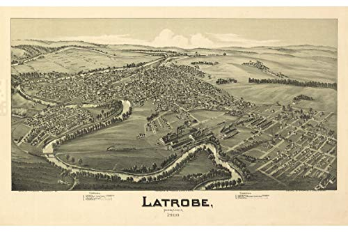 Map of Latrobe, PA - Antique Map - Pictorial or Birdseye Map, 1900-16 x 24 inches