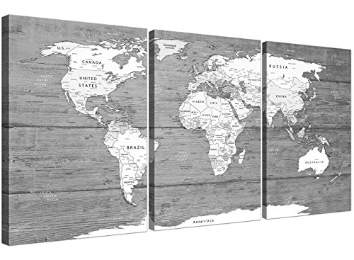 Grande blanco y negro mapa del mundo Atlas–lienzo pared Art print–Multi set de 3–3315Wallfillers