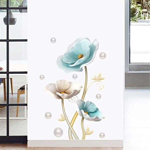 DERUN TRADING Lotus Flowers Floral Peel And Stick Wall Stickers Decals Murals Art Decor For Living Room Nursery Room Bedroom Office Bathroom Vinyl Removable Wall Decoration Romantic Beautiful Lovely